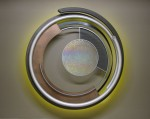"""Circle of Life"" Aluminum, steel, and kiln fused glass. 48"" diameter"