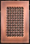 Copper weave with patina. Cabinet door & drawer wraps made to order.