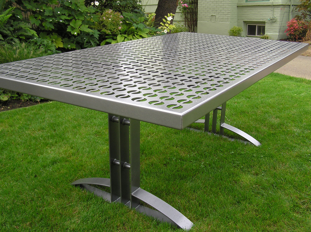 Steel patio table metal patio table patio 2529 metal patio table with by out there exteriors - Garden furniture steel ...
