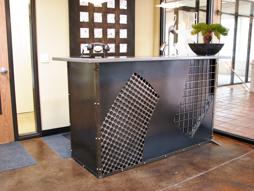 Other Works Reception Desk Partially Reclaimed Steel With Clear Powder Coat Finish