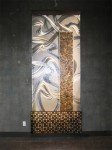 """Stainless steel, glass, patinated steel. 48""""w x 113""""h x 8""""d"""